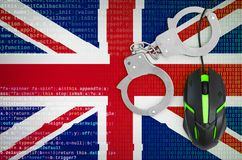 Great britain flag and handcuffed computer mouse. Combating computer crime, hackers and piracy vector illustration