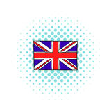 Great Britain flag icon, comics style Royalty Free Stock Images