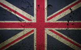Great britain flag on old grunge wall background Stock Photos