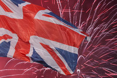 Great Britain flag. Over fireworks Royalty Free Stock Image