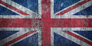 Great Britain Flag painted on a Wall. Ddistressed Painting of a Flag on an old Wall Stock Images