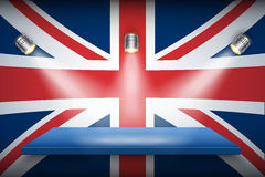 Great Britain flag and platform. Royalty Free Stock Photos