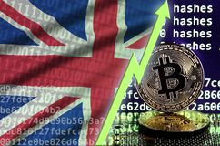Great britain flag and rising green arrow on bitcoin mining screen and two physical golden bitcoins royalty free illustration