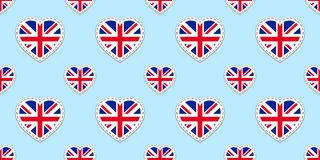 Great Britain flag seamless pattern. Vector The United Kingdom flags stikers. Love hearts symbols. English courses, sports pages, royalty free illustration