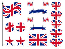 Great Britain flag set. Collection of symbols, flag in heart. Vector. Illustration Royalty Free Stock Photo