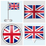 Great Britain flag - set of sticker, button, label. Great Britain flag - set of various sticker, button, label and flagstaff Stock Illustration