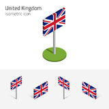 Great Britain flag, vector set 3D isometric icons Royalty Free Stock Images