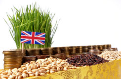 Great Britain flag waving with stack of money coins and piles of wheat Stock Images