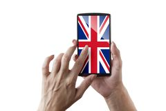 Great Britain flagged screen. Woman is touching the flagged screen stock images