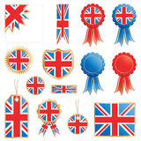 Great britain flags and rosettes. United kingdom decorative rosettes and flags isolated on white Stock Photography