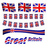 Great Britain flags set. On white background. Vector Illustration vector illustration