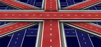 Great Britain Highway Flag. In perspective as a three dimensional symbol made of intersecting roads to form an icon of British economic growth English culture Royalty Free Stock Image