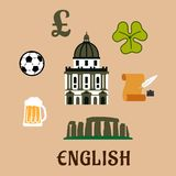 Great Britain historical and cultural icons. Great Britain historical and cultural travel concept with stonehenge, st Paul cathedral, pound sterling sign Stock Photography