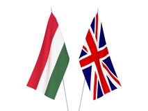 Great Britain and Hungary flags. National fabric flags of Great Britain and Hungary isolated on white background. 3d rendering illustration stock illustration