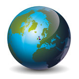 Great Britain. Icon of the Great Britain on Globe stock illustration