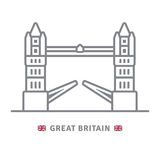 Great Britain icon with tower bridge and British flag Royalty Free Stock Image