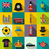 Great Britain icons set, flat style Royalty Free Stock Images