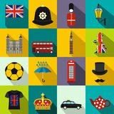 Great Britain icons set, flat style Stock Photography