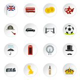 Great Britain icons set, flat style Stock Images