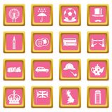 Great Britain icons pink Royalty Free Stock Photography