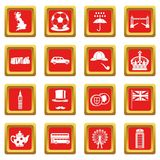 Great Britain icons set red. Great Britain icons set in red color isolated vector illustration for web and any design Stock Photos
