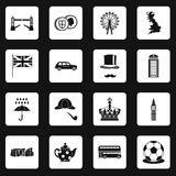 Great Britain icons set squares vector Royalty Free Stock Photos