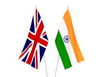 Great Britain and India flags. National fabric flags of Great Britain and India isolated on white background. 3d rendering illustration stock illustration