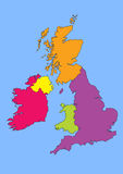 Great Britain and Ireland. Map of Great Britain and Ireland Stock Image