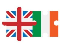 Great Britain and Ireland flags in form of puzzle. Great Britain and Ireland flags in the form of a puzzle Stock Photos