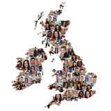 Great Britain and Ireland map multicultural group of young peopl Stock Photo