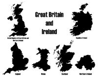 Great Britain + Ireland vectors Royalty Free Stock Images