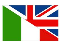 Great Britain and Italy flags vector illustration