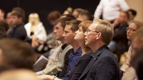 Great Britain - London, 10 December 2018: Close up for interested audience at a business seminar listening to a speaker stock images