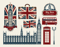Great Britain and London. Set of drawings on the theme of Great Britain and London Stock Images