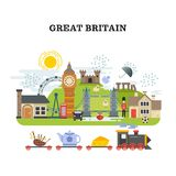 Great britain and london vector traveling concept. Banner tourism in england, poster with landmark london and england illustration royalty free illustration