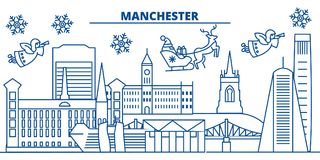 Great Britain, Manchester winter city skyline. Merry Christmas, Happy  Stock Photography