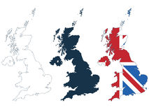 Great britain map. In line, silhouette and flag format isolated on white Stock Photo