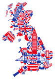 Great Britain map. In the form of traditional English symbols Royalty Free Stock Photos