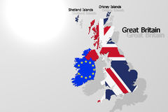 Great Britain Map. Complete with text Royalty Free Stock Image