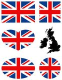 Great Britain map and flag - large island in the north Atlantic Ocean. Vector file of Great Britain map and flag - large island in the north Atlantic Ocean Stock Image