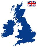 Great Britain map and flag - large island in the north Atlantic Ocean. Vector file of Great Britain map and flag - large island in the north Atlantic Ocean Stock Photography