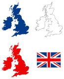 Great Britain map and flag - large island in the north Atlantic Ocean. Vector file of Great Britain map and flag - large island in the north Atlantic Ocean Stock Images