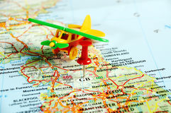 Great Britain  map pin airplane Stock Images