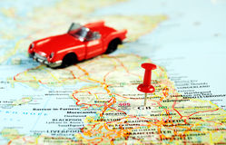 Great Britain  map pin car. Great Britain  map with red pin and a cabrio car  - Travel concept Royalty Free Stock Photos