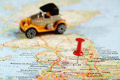 Great Britain  map pin car Royalty Free Stock Photos