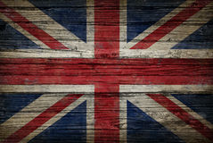 Great Britain Old Wood Flag. Great Britain flag painted on old weathered,wood as an old vintage British and United Kingdom concept of a symbol of historical Stock Images