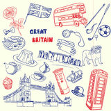 Great Britain Pen Drawn Doodles Vector Collection Royalty Free Stock Photo