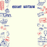 Great Britain Pen Drawn Doodles Vector Collection Royalty Free Stock Photography