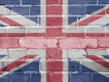 Great Britain Politics Concept: UK Flag Wall. Background Texture royalty free illustration