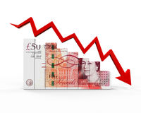 Great Britain Pound and Red Arrow Stock Photography